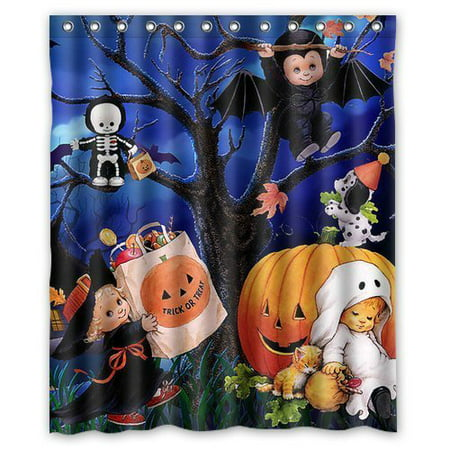 HelloDecor Halloween Ghost and Pumpkin Background Shower Curtain Polyester Fabric Bathroom Decorative Curtain Size 60x72 Inches](Halloween 5 Shower)