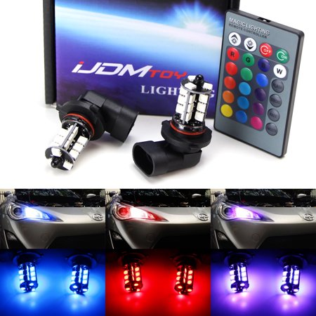 iJDMTOY 27-SMD Multi-Color RGB 9005 LED Bulbs For Scion FR-S, Dodge Charger, Subaru Impreza WRX, On High Beam as Daytime Running Lights w/ IR Remote Control