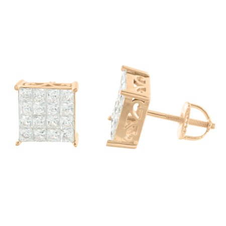 14k Rose Gold Finish Square Earrings Iced Out Lab Created Cubic Zirconias Screw Back 925 Silver
