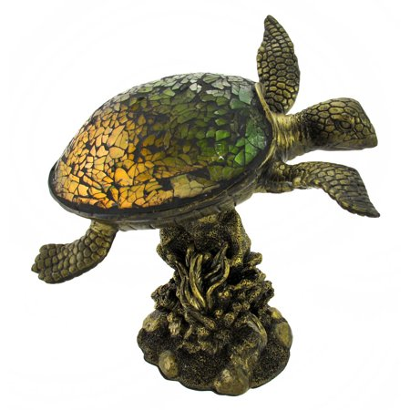 Green Crackle Glass Sea Turtle Accent Lamp (Glasses Light)