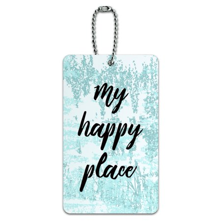 My Happy Place Luggage Card Suitcase Carry-On ID (Best Place To Purchase Luggage)