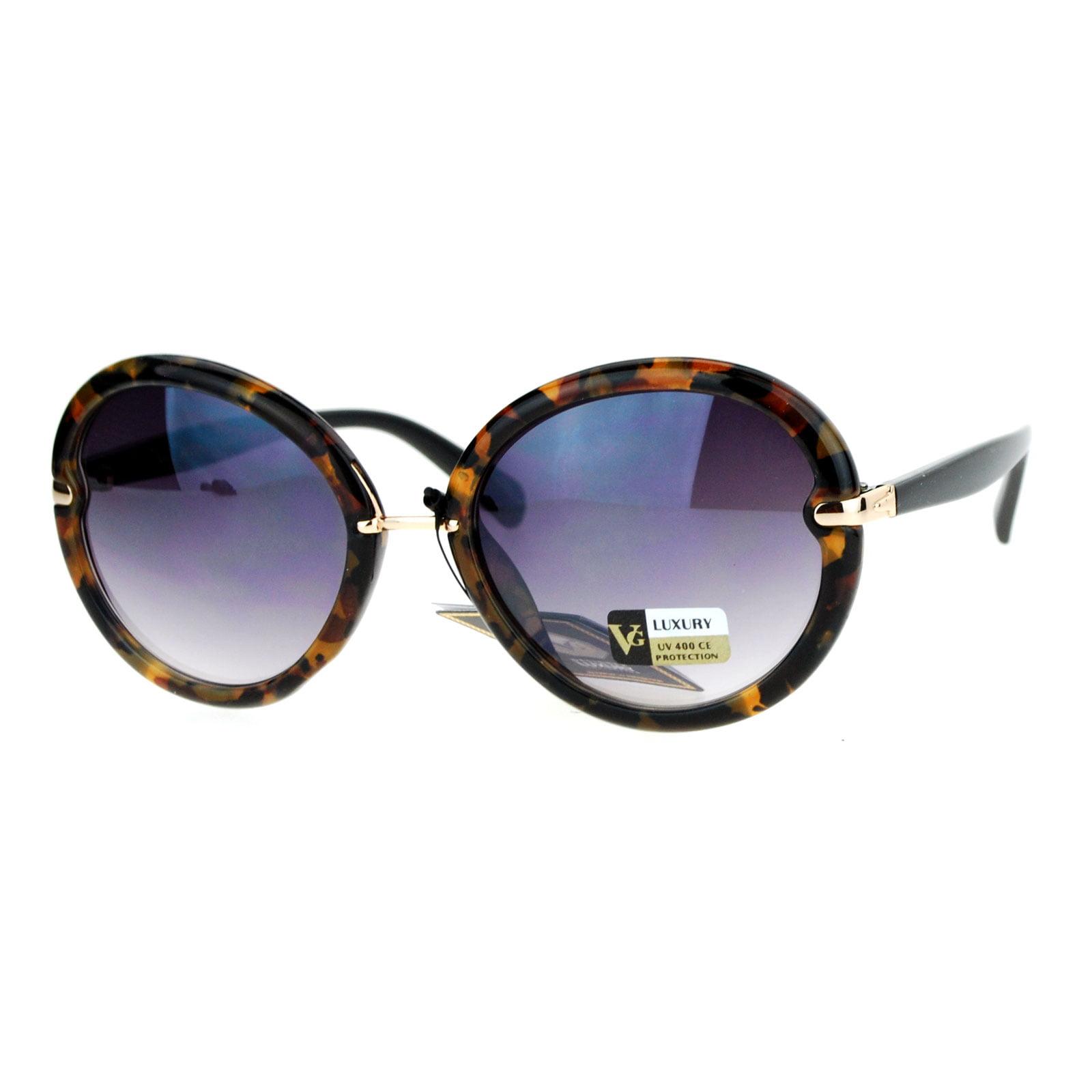 SA106 Designer Fashion Round Butterfly Oversize Sunglasses Tortoise Smoke