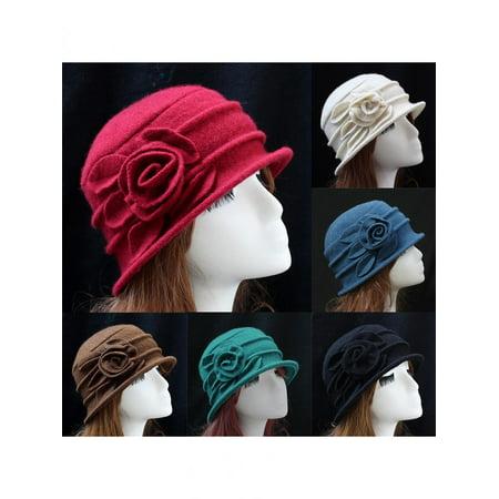 Fashion Women Wool Church Cloche Flapper Hat Lady Bucket Winter Flower Cap By Girl12Queen (Flappers Hats)