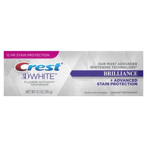 Crest 3D White Brilliance Advanced Whitening Technology + Advanced Stain Protection Toothpaste, Vibrant Peppermint, 4.1 Oz