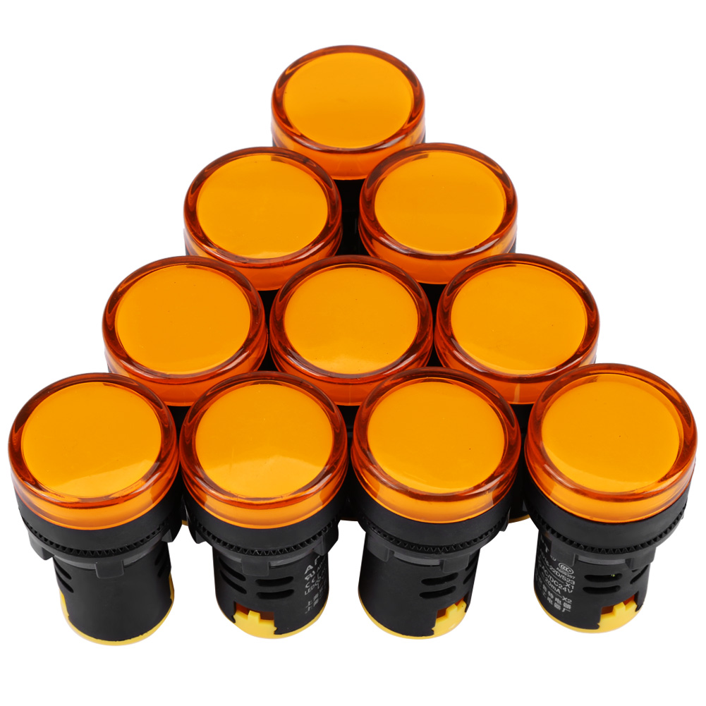 Ashata 10Pcs  AC/DC 24V 22mm Thread LED Electronic Indicator Signal Light, Led Indicator light