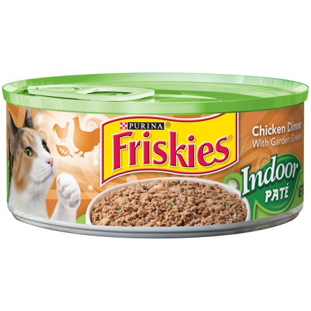 (24 Pack) Friskies Indoor Pate Chicken Dinner with Garden Greens Wet Cat Food, 5.5 oz. (The Best Wet Cat Food For Indoor Cats)