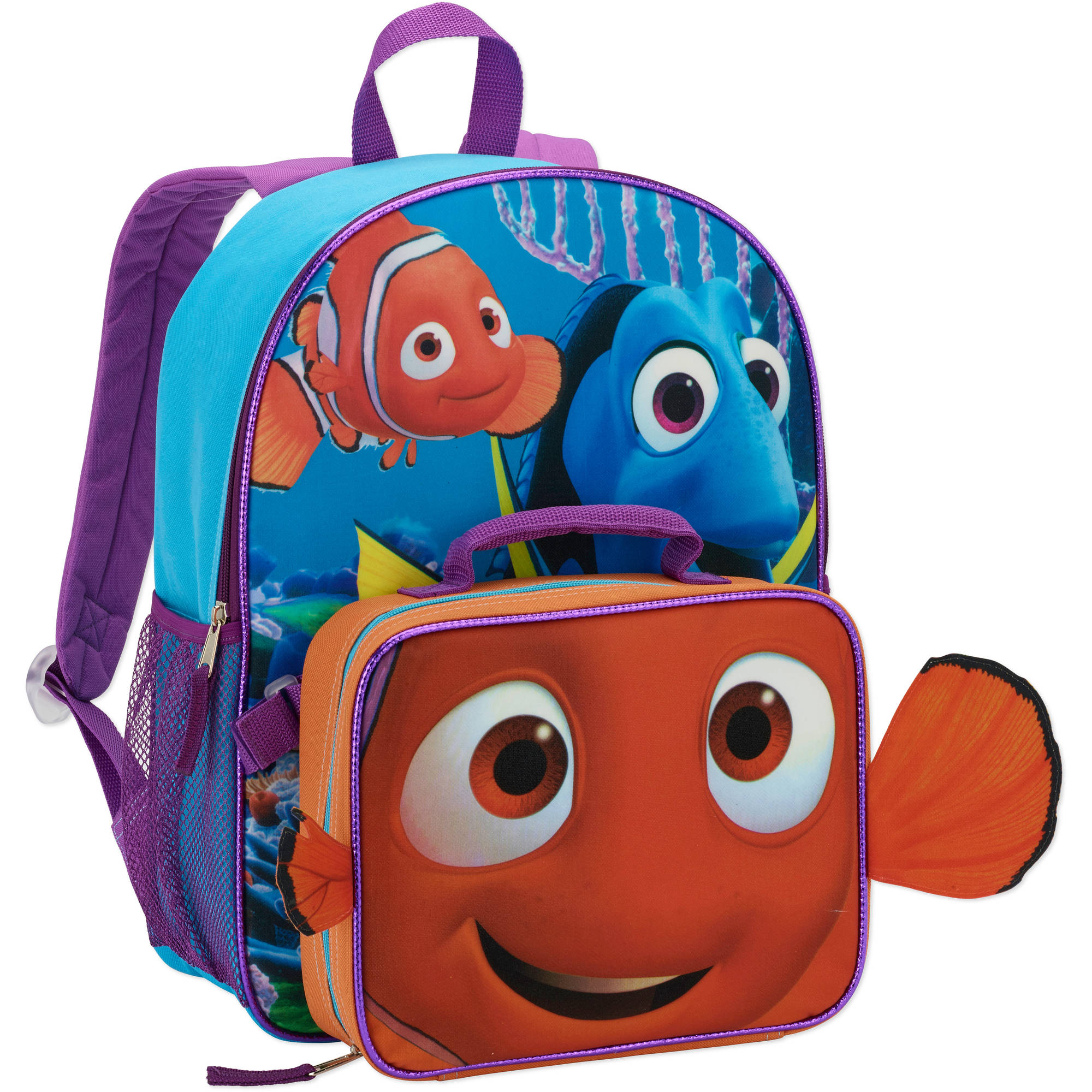 "Disney Finding Dory 16"" Full Size Backpack w/ Detachable Lunch Bag"
