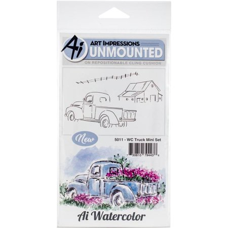 Art Impressions Watercolor Cling Rubber Stamps Truck Mini Set ()