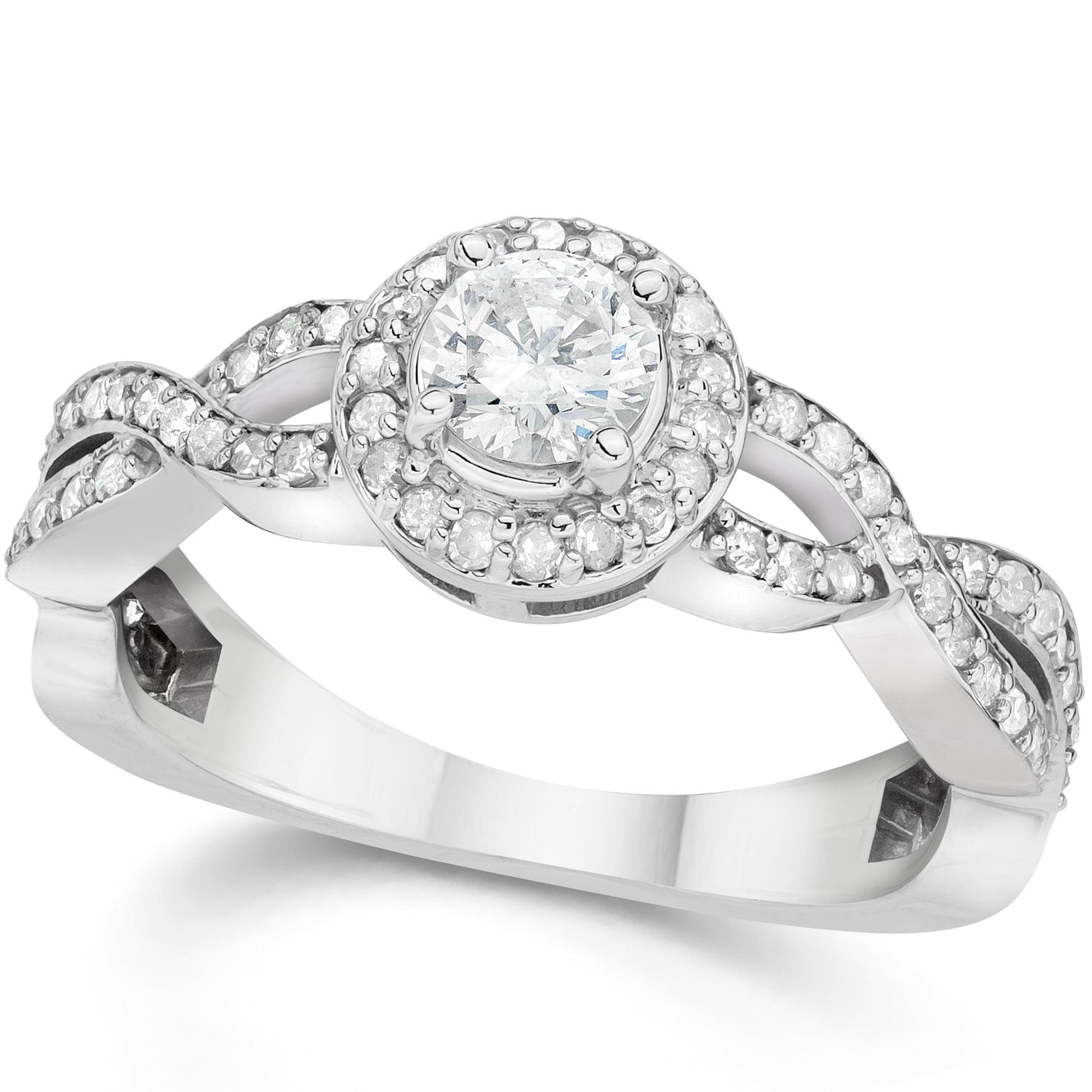7 8ct Infinity Diamond Engagement Halo Ring 14K White Gold by Pompeii3
