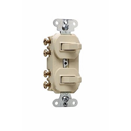 Pass & Seymour - 693IG - 15 Amp - Ivory - (2) 3 Way - 120/277 Volt - Stack Switch - Combination Switch ()