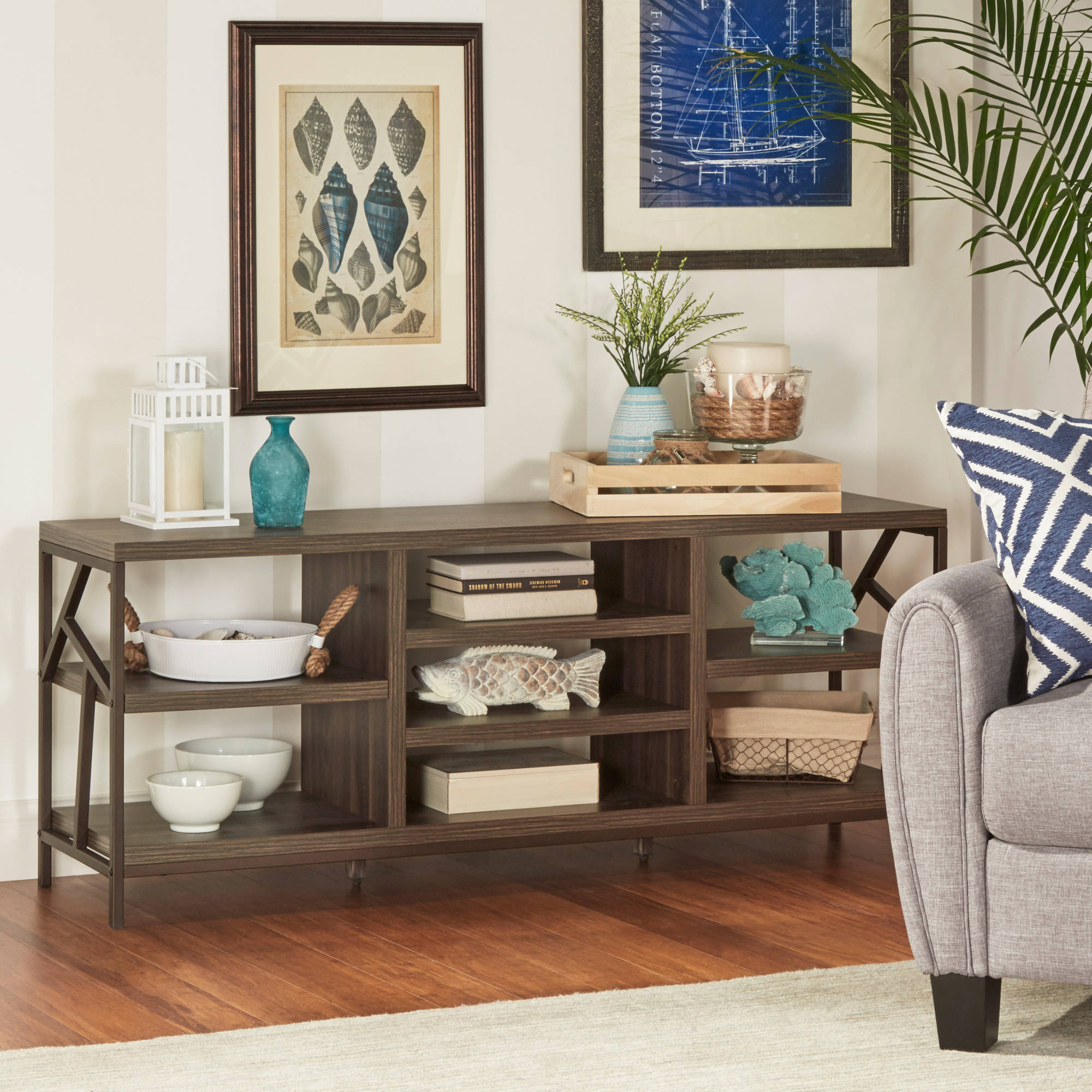 Weston Home Elements Metal Accent Storage Media Console