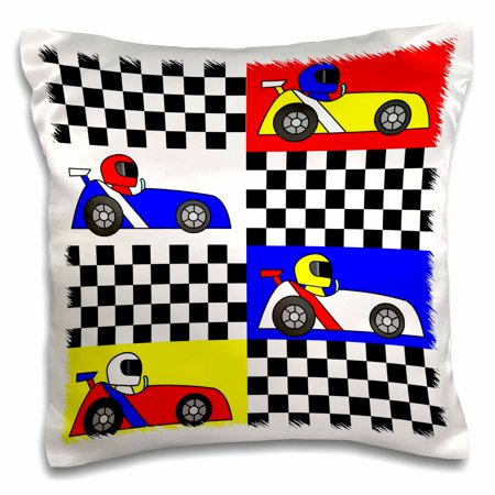 3dRose Boy Stuff Blue Red Yellow Racecars Checkered Flag Design, Pillow Case, 16 by 16-inch - Race Car Design