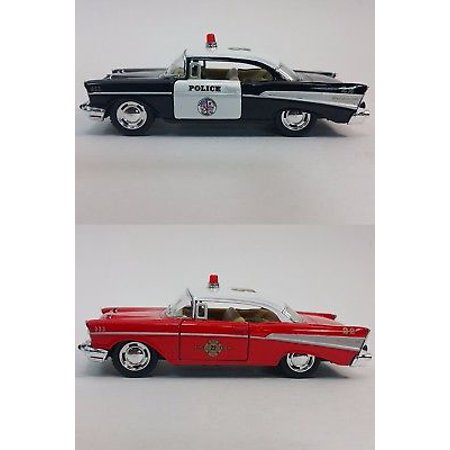 "2 PC Set Kinsmart 5"" 1957 Chevrolet Bel Air Police Fire Diecast Model Toy 1:40"
