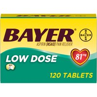Aspirin Regimen Bayer Low Dose Pain Reliever Enteric Coated Tablets, 81mg, 120 Ct