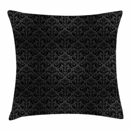 Decorative Elements - Dark Grey Throw Pillow Cushion Cover, Black Damask Arabesque and Floral Elements Oriental Antique Ornament Vintage, Decorative Square Accent Pillow Case, 16 X 16 Inches, Black Grey, by Ambesonne