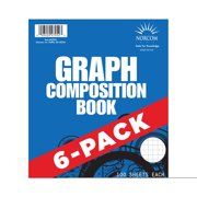 """Norcom Graphing Composition Book, 6 Pack 4x4 Quad, 9.75"""" x 7.5"""""""