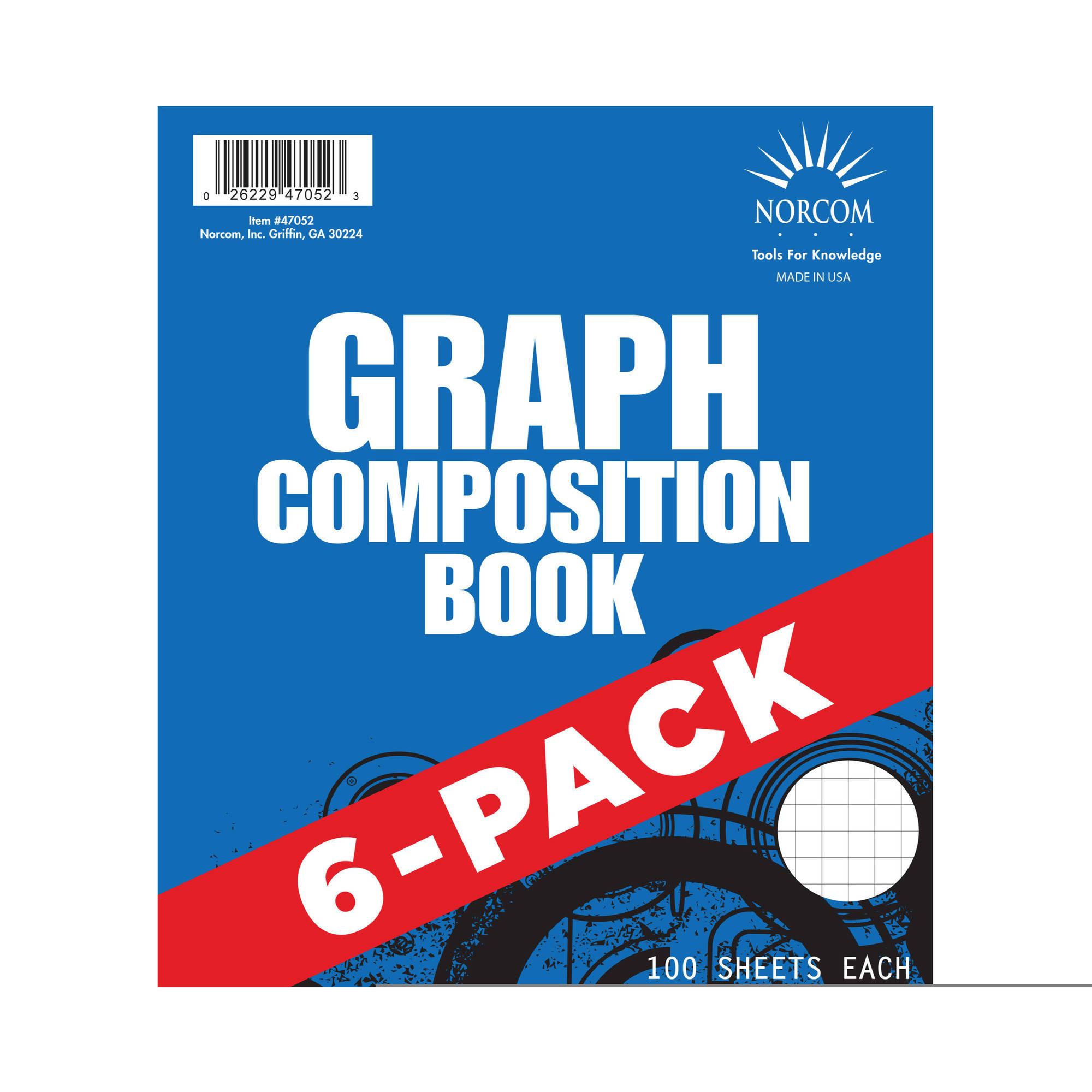 Norcom Graphing Composition Book, 6 Pack 4x4 Quad