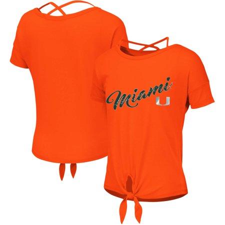 Youth Hurricane - Miami Hurricanes Colosseum Girls Youth Linz Ballerina Tie T-Shirt - Orange