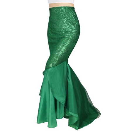 Short Skirt Long Jacket Halloween Costume (HDE Mermaid Tail Skirt Halloween Cosplay High Waisted Sequin Costume)
