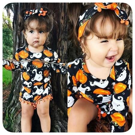 Halloween Newborn Baby Girls Romper Bodysuit Jumpsuit Tassles Clothes