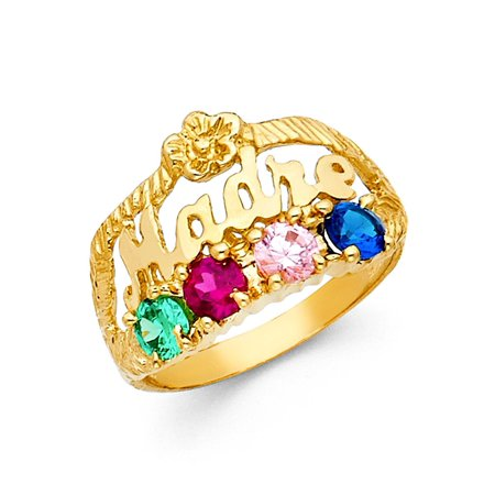 Madre Ring Solid 14k Yellow Gold Mom Band Four Stone Multi Color CZ Mothers Day Fashion Fancy - Mothers Day Colors