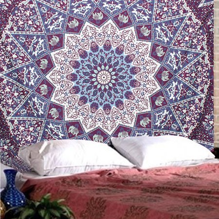 Indian Mandala Tapestry Hippie Wall Hanging Blue Bohemian Bedspread Dorm Decor SPECIAL TODAY ! (Hippie Decor Stores)