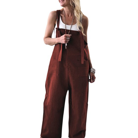 b4048cd9a HIMONE - Linen Jumpsuits for Women Casual Loose Straps Overalls Baggy Wide  Leg Harem Pants Rompers Dungarees Playsuit Trousers - Walmart.com