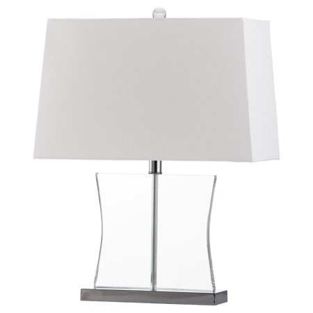 Safavieh Salcha Crystal Table Lamp with CFL Bulb, Clear with Off-White Shade