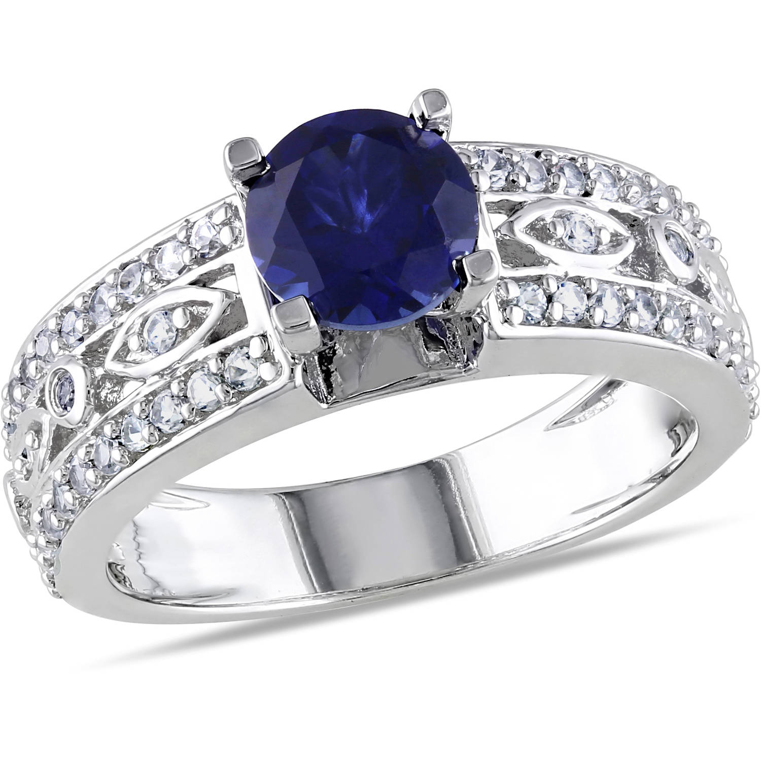 Tangelo Miabella 1-3/4 Carat T.G.W. Blue and White Sapphire Sterling Silver Engagement Ring