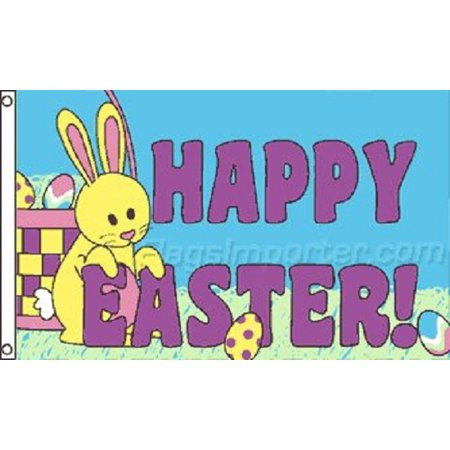 3x5 Happy Easter Flag Spring Holiday Banner Party Bunny Rabbit Pennant -