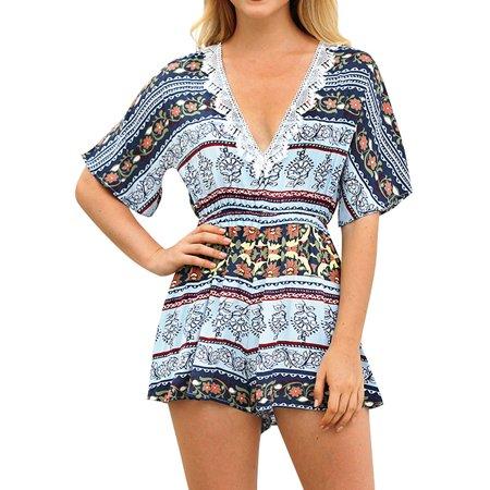 0c5ff0c0312 711ONLINESTORE - 711ONLINESTORE Women Short Sleeve High Waist V Neck Floral  Print Jumpsuit - Walmart.com
