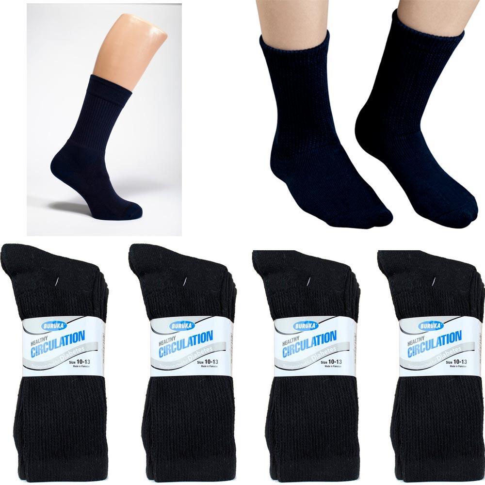 12 Pair Diabetic Crew Circulation Socks Health Support Mens Loose Fit 10-13 Blck