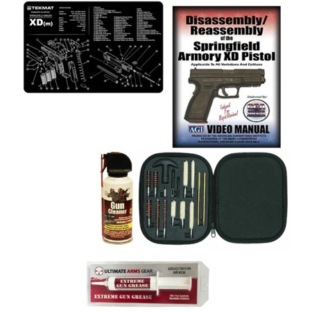Extreme Pc - AGI DVD Springfield Armory XD (m) XDm & Reassembly + Ultimate Arms Gear Gunsmith Cleaning Gun Mat + Professional Cleaning Supplies Kit 17 pc Cleaning Kit + Gun Cleaner Spray Can + Extreme Gun Grease