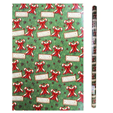 Merry Christmas Crossed Candy Cane Graphic Giftwrap
