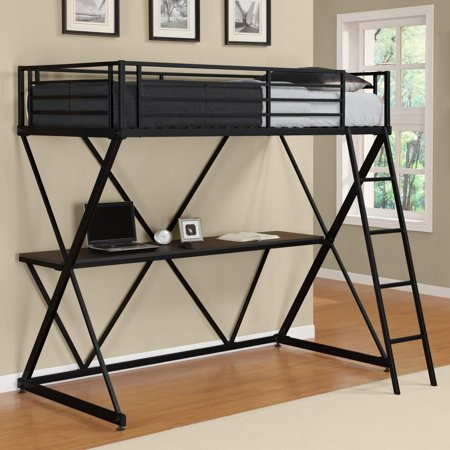Dhp X Twin Metal Loft Bed Over Desk Workstation Black