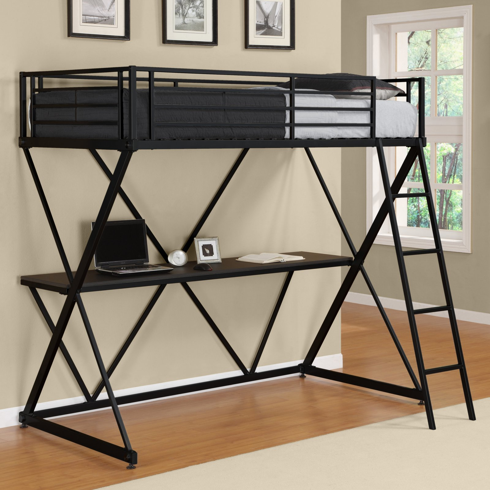 bunk bed with desk. DHP X Twin Metal Loft Bed Over Desk Workstation, Black Bunk With