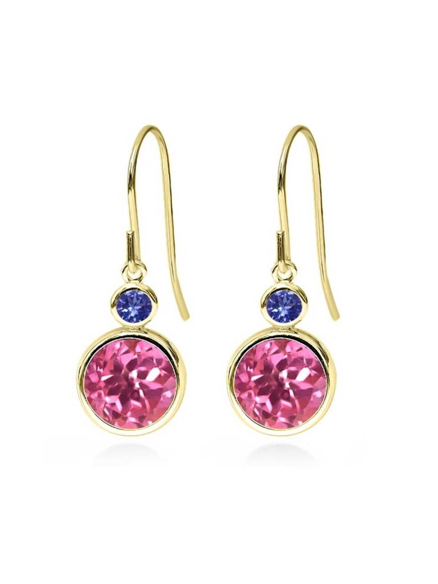 4.94 Ct Round Pink Mystic Topaz Blue Tanzanite 14K Yellow Gold Earrings by
