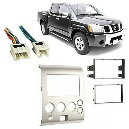 Metra 95-7406 Double DIN Installation Dash Kit And Wire Harness for 2004-2007 Nissan Titan and 2004-2005 Nissan Armada -Silver