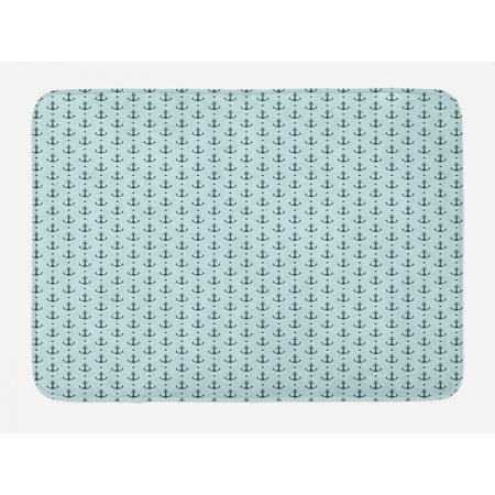 Anchor Bath Mat, Ocean Inspired Zigzag Backdrop with Pale Color Maritime Anchor and Dots Summertime, Non-Slip Plush Mat Bathroom Kitchen Laundry Room Decor, 29.5 X 17.5 Inches, Seafoam Teal, Ambesonne ()