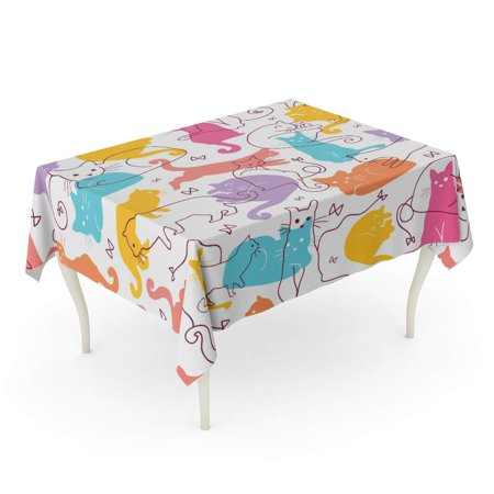 POGLIP Blue Pattern Colorful Cats Cute and Orange Silhouette Tablecloth Table Desk Cover Home Party Decor 60x104 inch - image 1 of 1