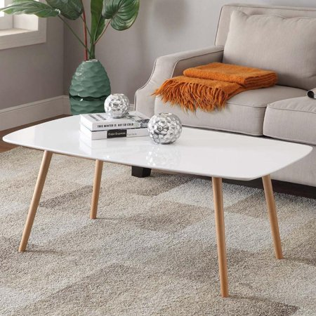 Yaheetech Modern Pine Coffee Table White Gloss Table Top Natural Wood Legs  Living Room Furniture. Yaheetech Modern Pine Coffee Table White Gloss Table Top Natural