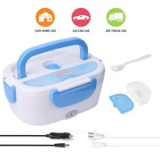 Electric Lunch Box -- Toursion Portable Food Heater 2 in 1 for Car/Truck and Work 110V & 12V 40W, Removable Stainless Steel Portable Food Warmer 1.5L, Spoon and 2 Compartments Included