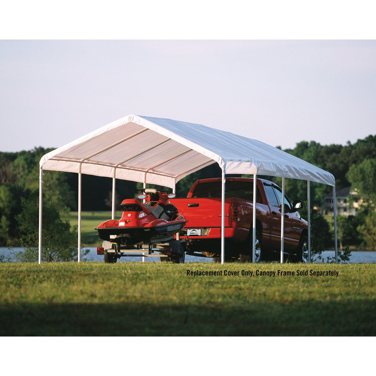 "Shelterlogic 12' x 26' White Canopy Replacement Cover Fits 2"" Frame by ShelterLogic Corp."