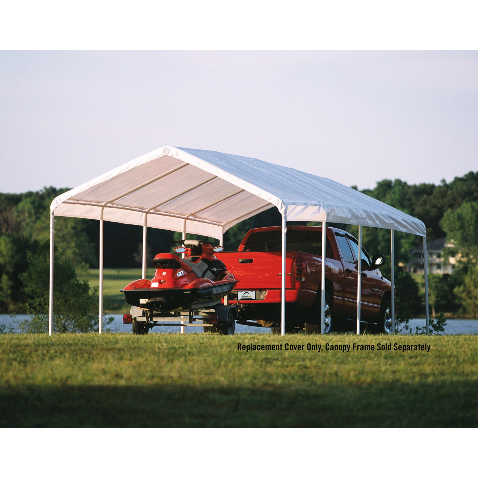 "Shelterlogic 12' x 26' White Canopy Replacement Cover Fits 2"" Frame"