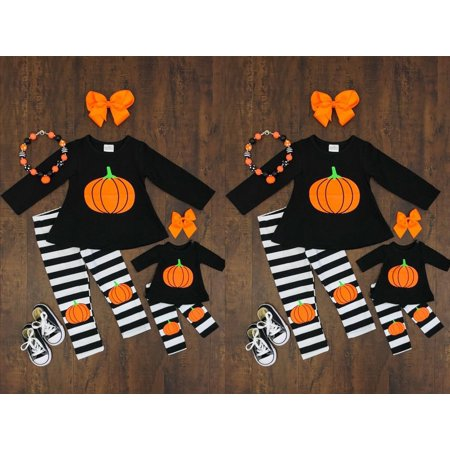 Toddler Baby Girls Halloween Outfits T-shirt+Striped Pants 2PCS Outfits Set (Girl Halloween Outfit)