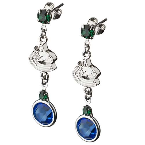 Vancouver Canucks Crystal Logo Earrings