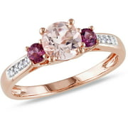 1 Carat T.G.W. Morganite, Pink Tourmaline and Diamond-Accent 10kt Pink Gold 3-Stone Ring