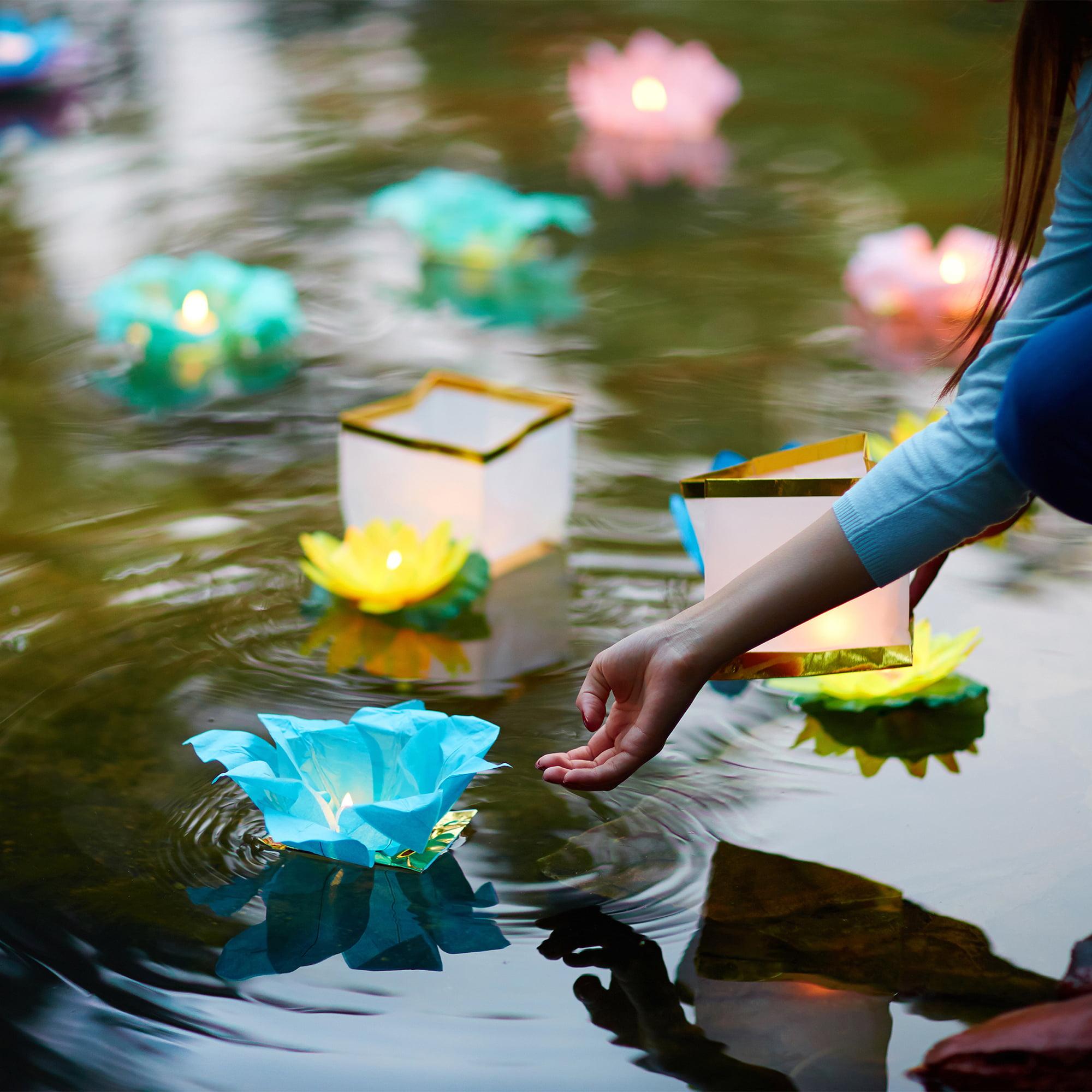 Lumabase Floating Lanterns, White with Gold Trim, Set of 6