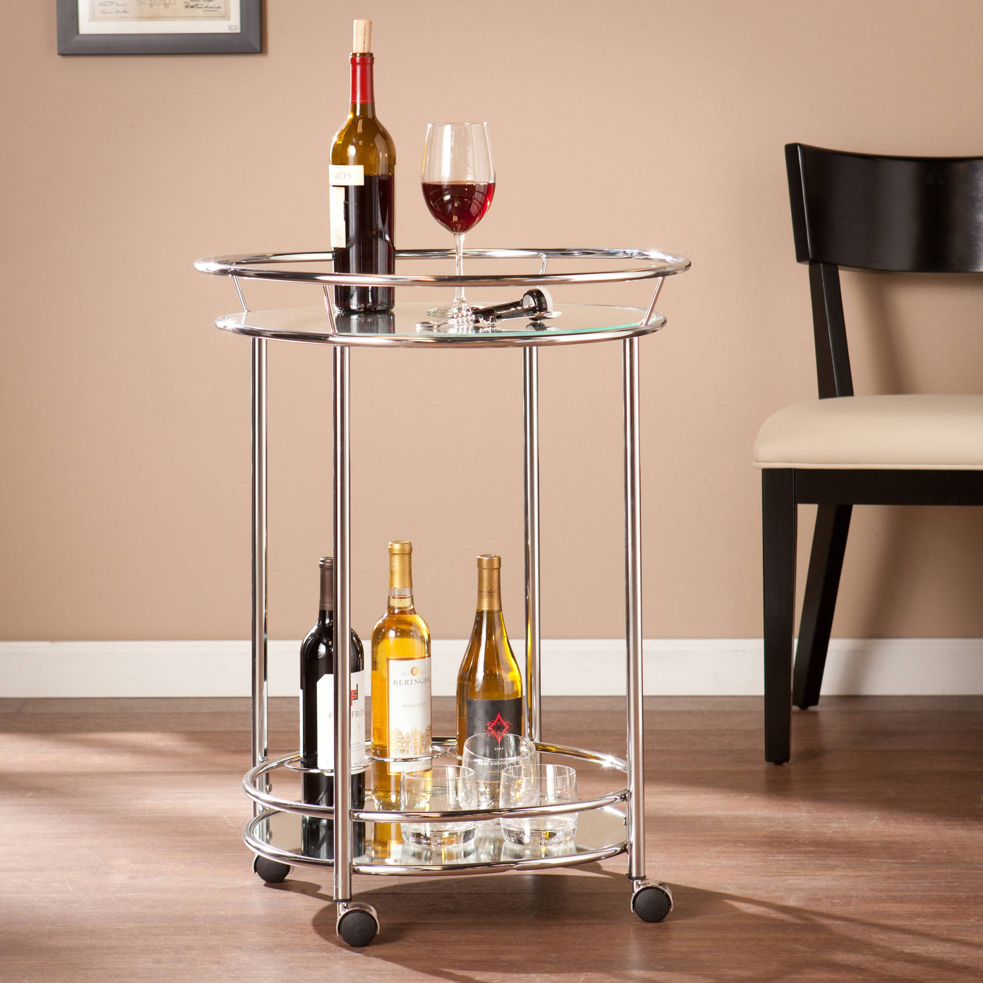 Southern Enterprises Crucio Rolling Mini Bar Cart, Chrome