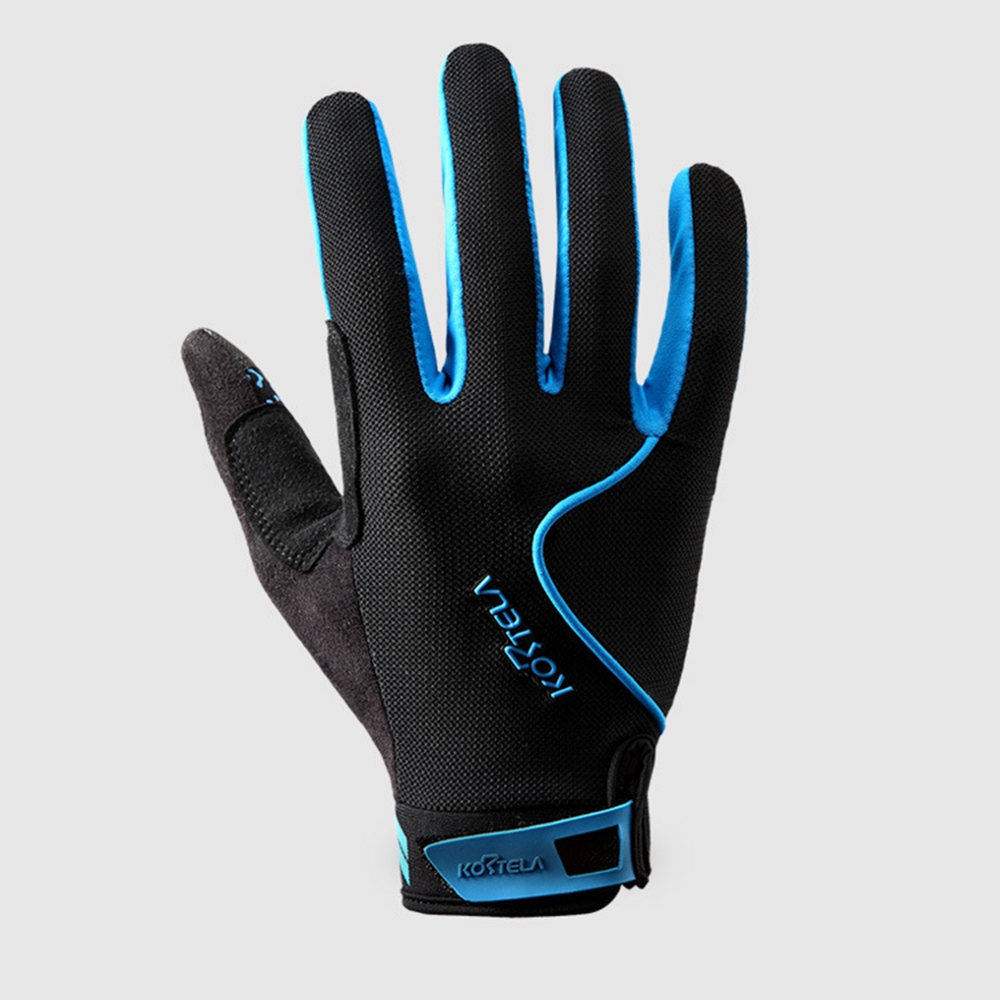 Winter Men Women Touch Full Finger Cycling Bike Racing Anti-slip Gel Pad Gloves Color:Blue by